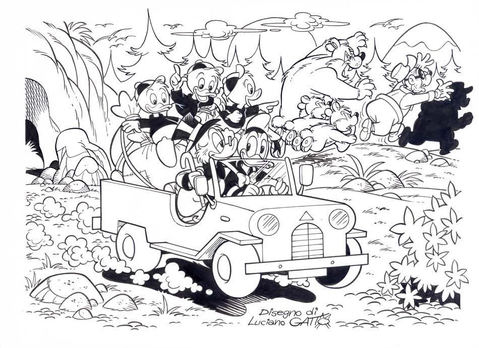 Disegno di luciano gatto jeep paperi for Jeep da colorare